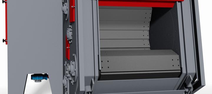 Tumble blast machine with manganese steel belt – G