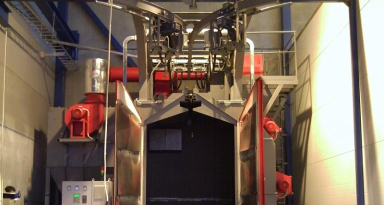 Spinner hanger shot blasting machine – VK