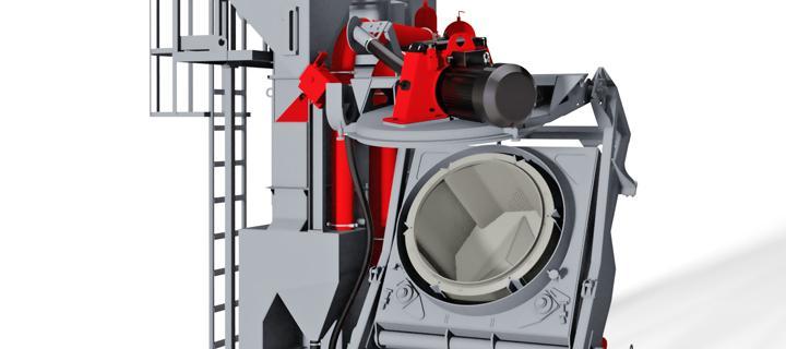 Shot blasting machine with rotating drum - VB