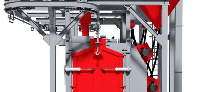 Overhead conveyor shot blasting machine with hook – VKP