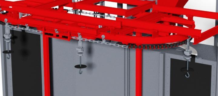 Continuous shot blasting machine with overhead conveyor - VPP